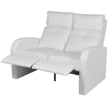... Kunstleder Heimkino Relaxsessel Sessel Sofa 2 Sitzer Weiß[2/7] ...