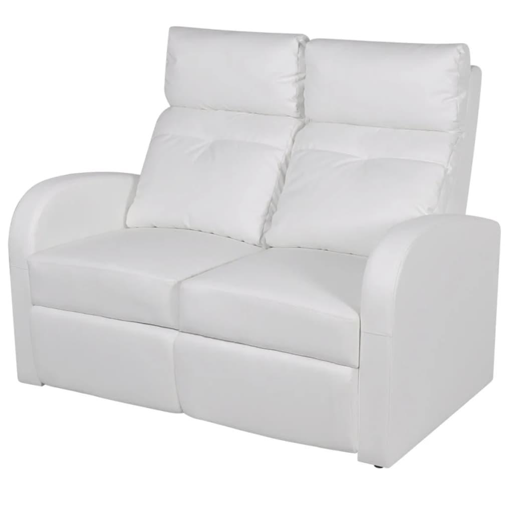 vidaXL 2 személyes fehér, dönthető támlájú, műbőr fotel