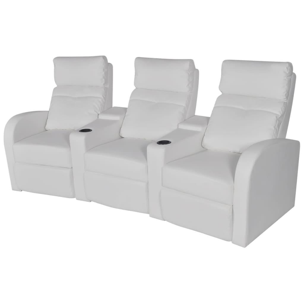 vidaXL 3 személyes fehér, dönthető támlájú, műbőr fotel