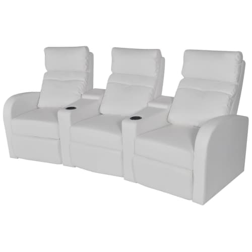 canap inclinable cin ma maison 3 si ges en cuir artificiel blanc noir sofa ebay. Black Bedroom Furniture Sets. Home Design Ideas