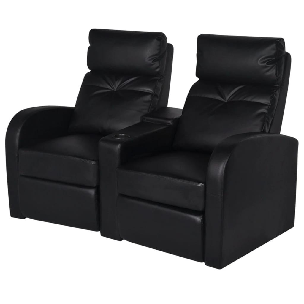 vidaXL Fotele kinowe dla 2 osób, sztuczna skóra, czarne