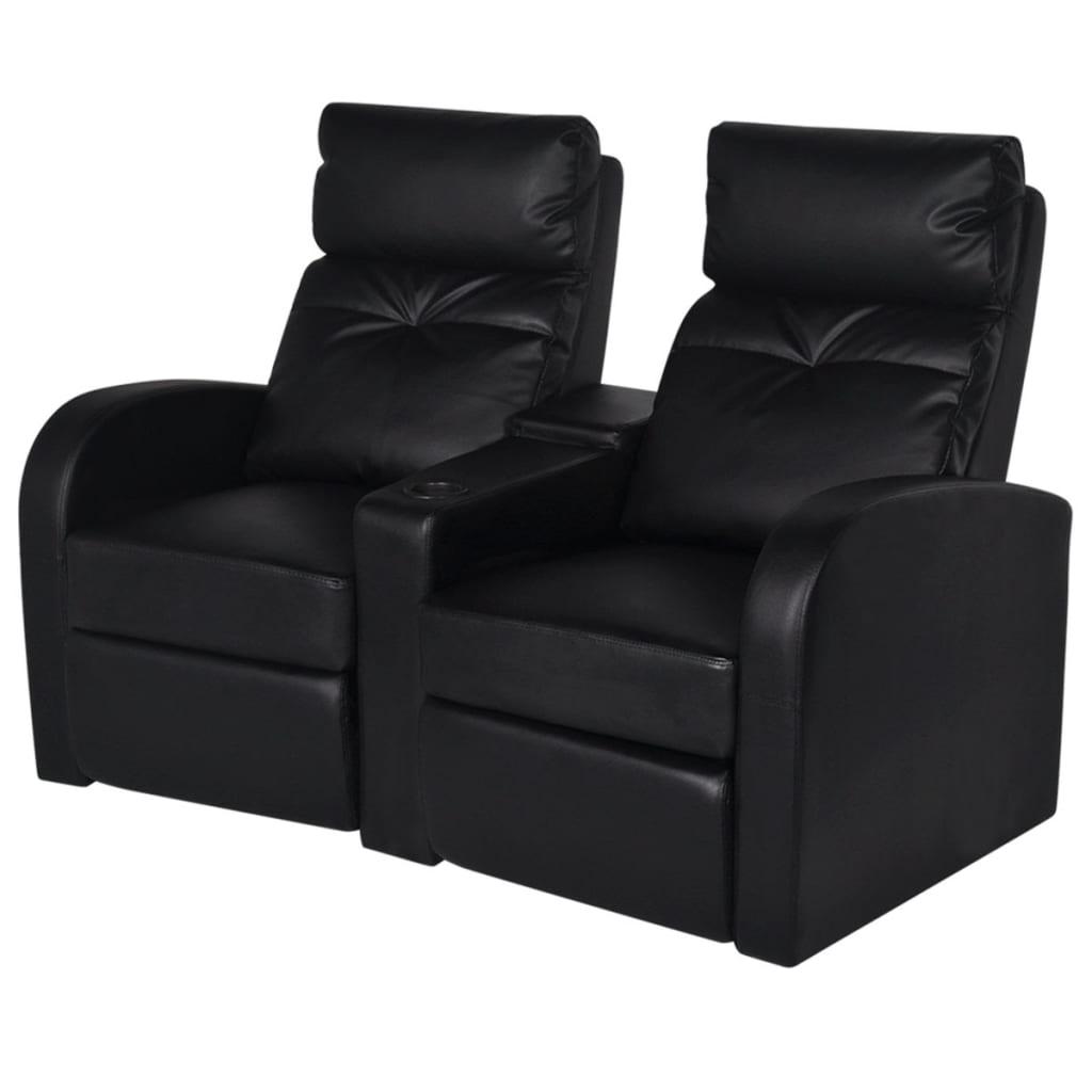 Divano-poltrona-a-2-posti-reclinabile-moderno-casa-ecopelle-nero-bianco
