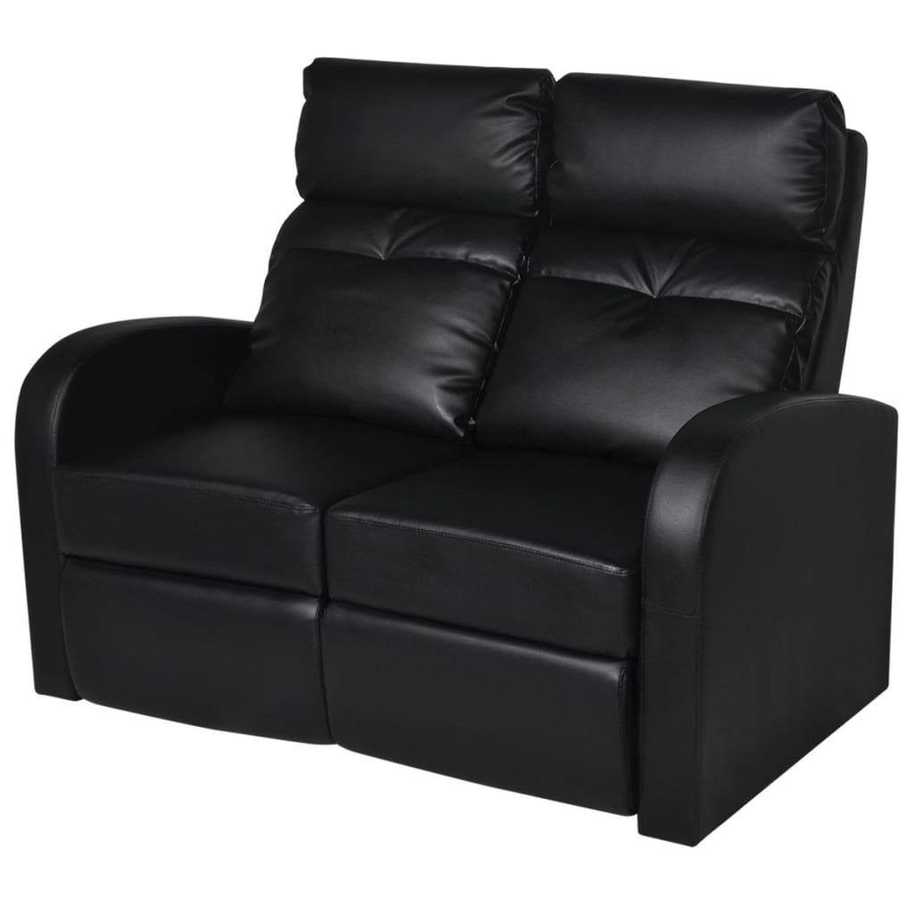 acheter canap inclinable cin ma maison 2 si ges en cuir synth tique noir pas cher. Black Bedroom Furniture Sets. Home Design Ideas