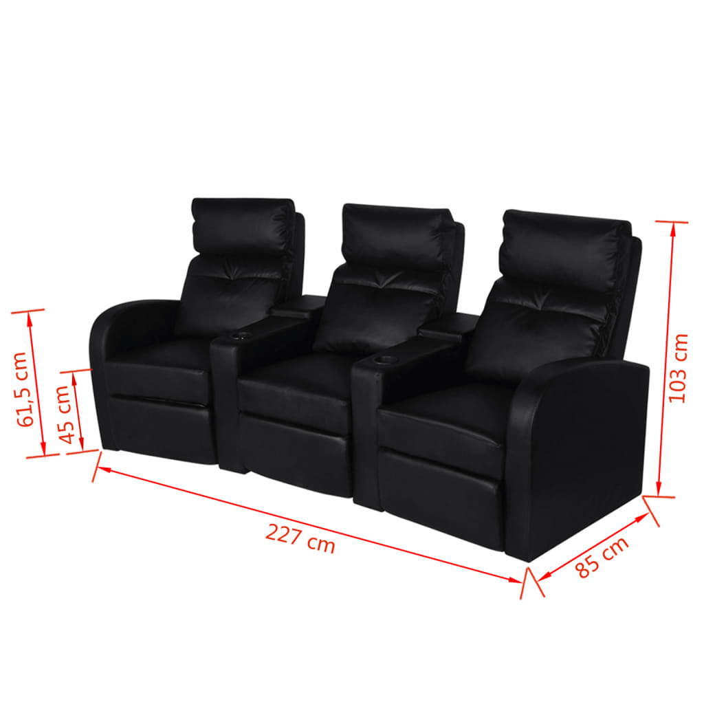 kunstleder heimkino sessel relaxsessel sofa 3 sitzer schwarz g nstig kaufen. Black Bedroom Furniture Sets. Home Design Ideas