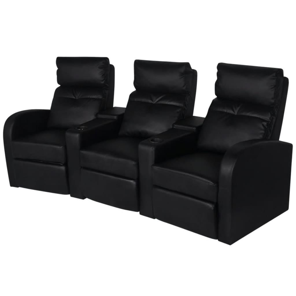 vidaXL 3 személyes fekete dönthető támlájú műbőr fotel