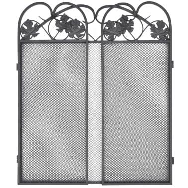 242005 3 panel fireplace screen iron black