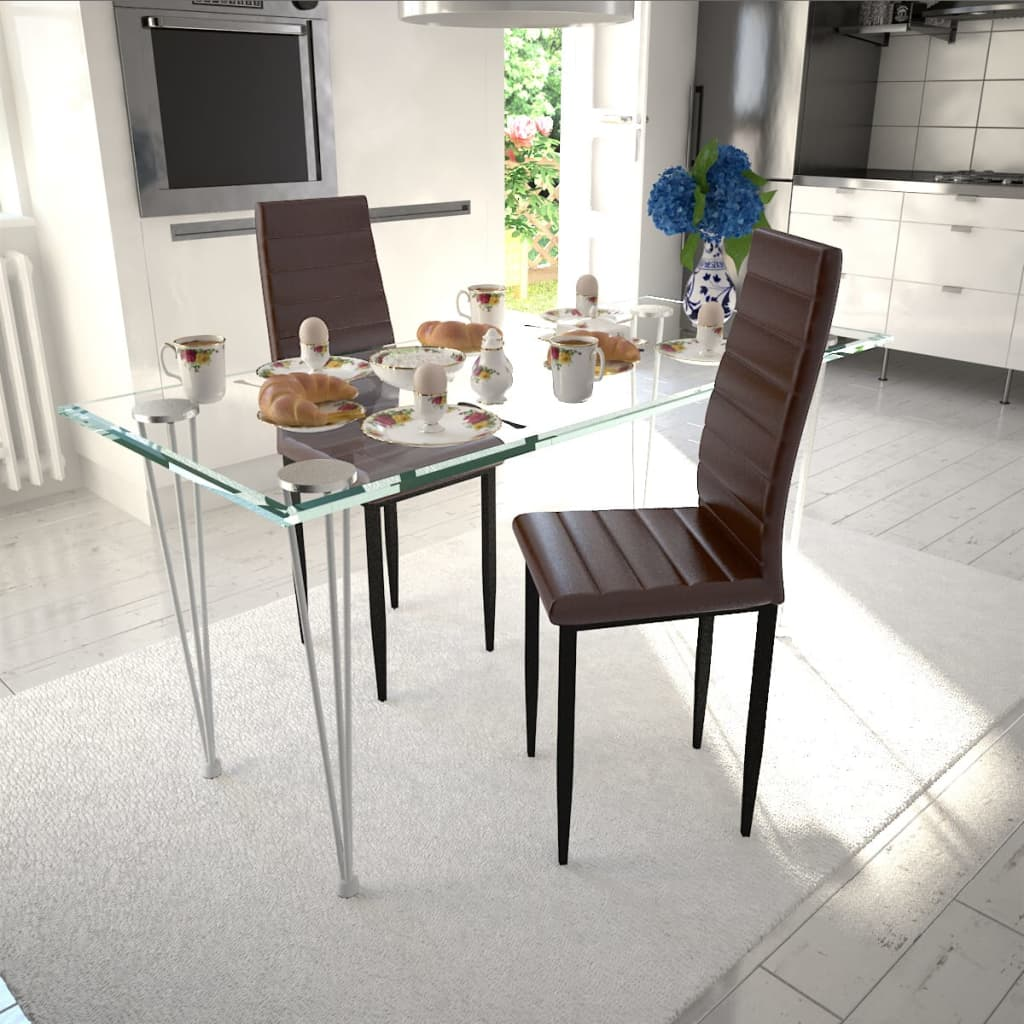 Modern 2 Pcs Brown Slim Line Dining Room