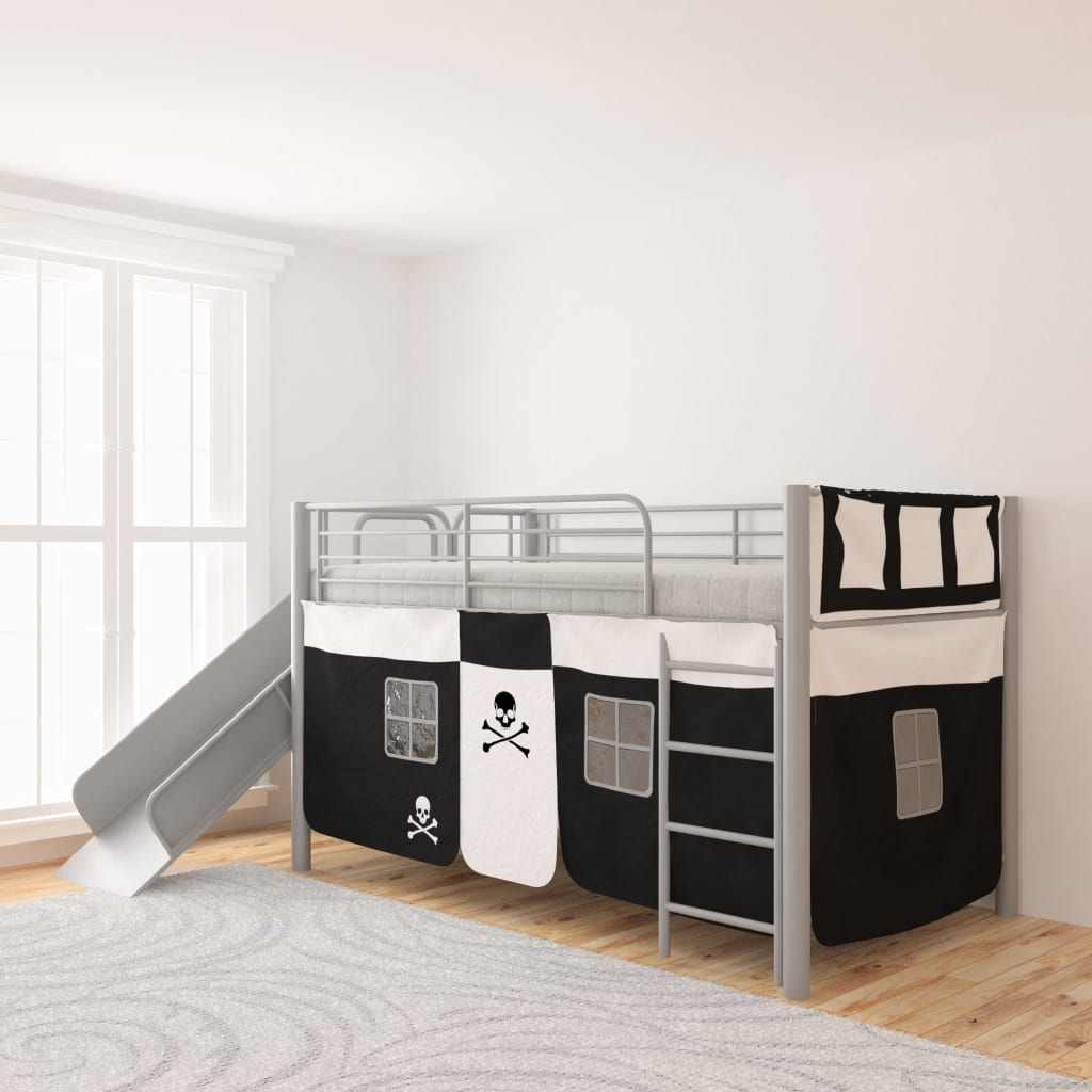 vidaxl kinderhochbett mit rutsche leiter stahl schwarz. Black Bedroom Furniture Sets. Home Design Ideas