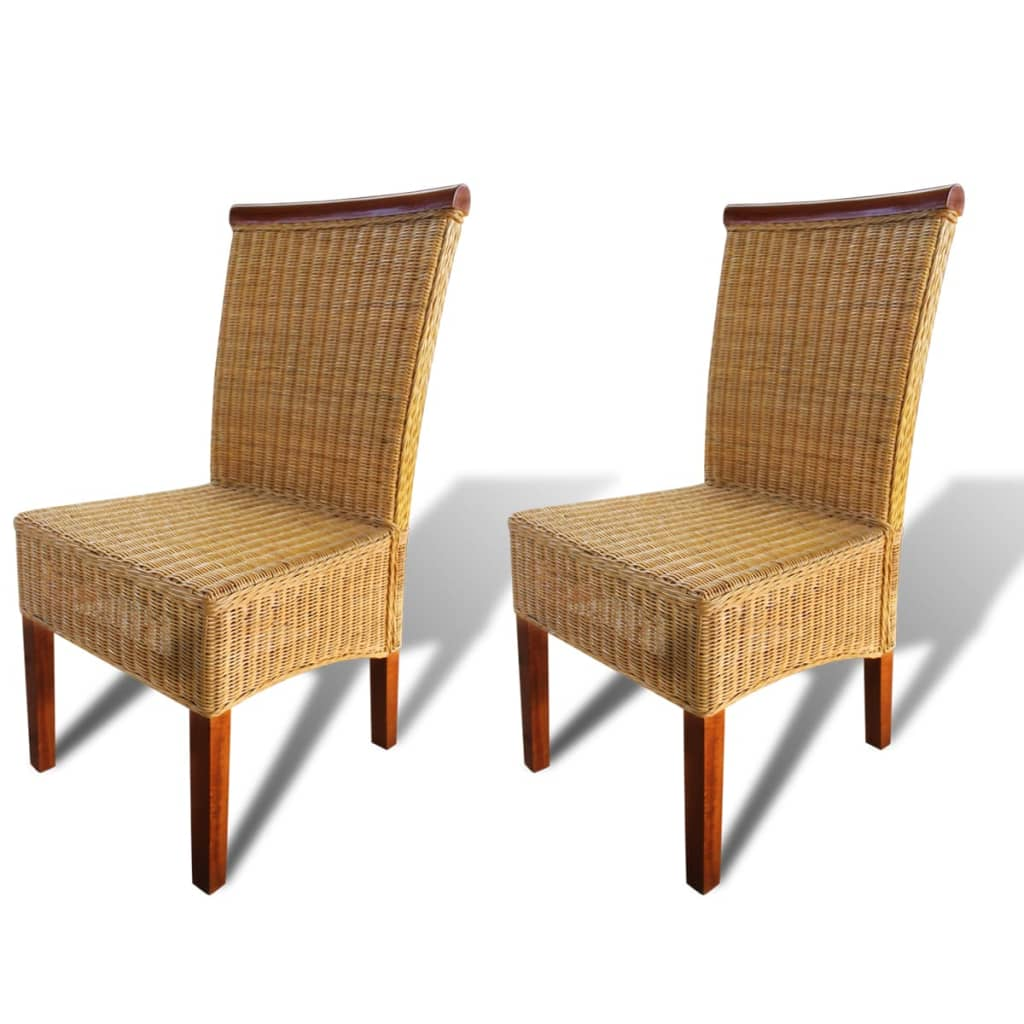 Set of 2 handwoven rattan dining chairs with decorative wooden strip - Decorative stools and benches ...