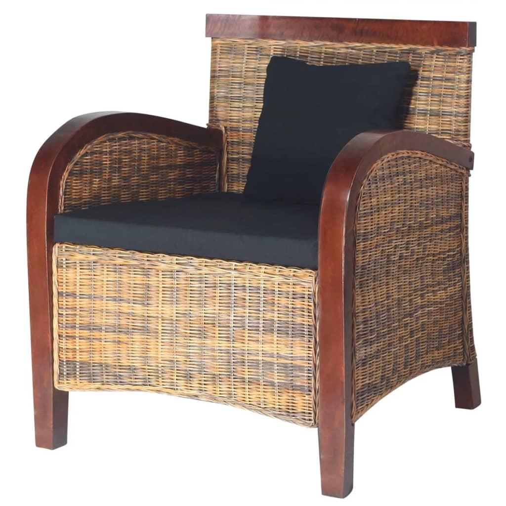 vidaXL Kézi fonású rattan fotel
