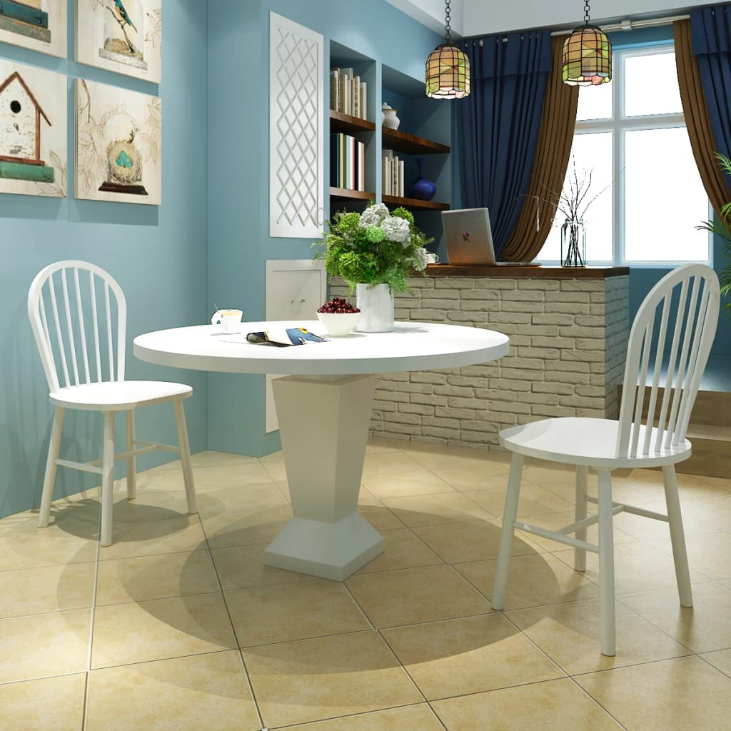 vidaXL 2x Dining Chairs Wood White Round Kitchen Living Room Furniture Seats - Netherlands or, United Kingdom - vidaXL 2x Dining Chairs Wood White Round Kitchen Living Room Furniture Seats - Netherlands or, United Kingdom