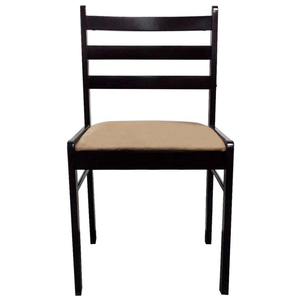 Cuatro sillas cuadradas de comedor de madera marr n for Sillas comedor marron chocolate
