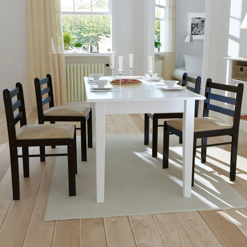 Cuatro sillas cuadradas de comedor de madera marr n - Comedor de cuatro sillas ...