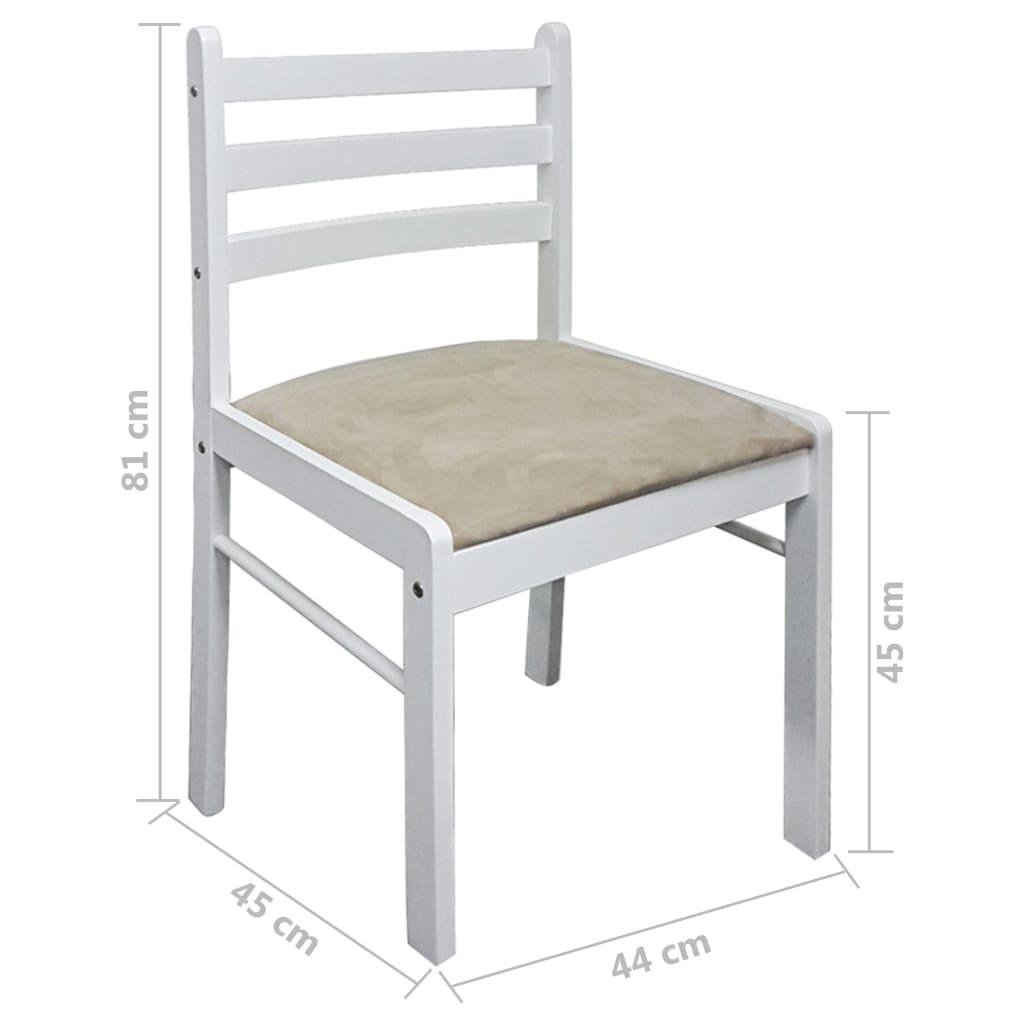 vidaXL-Set-2-pz-Sedia-da-tavola-quadrata-in-legno-bianca