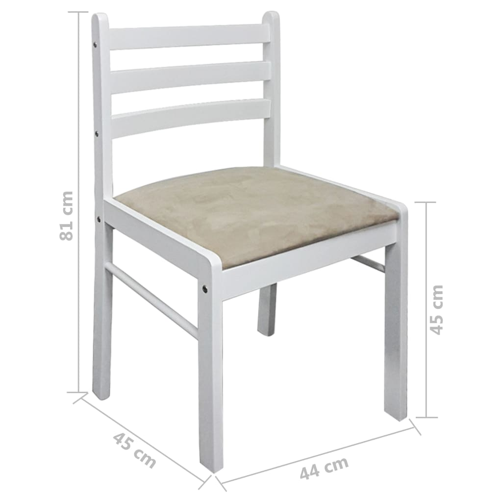 Cuatro sillas cuadradas de comedor de madera blanca for Sillas de cocina blancas de madera