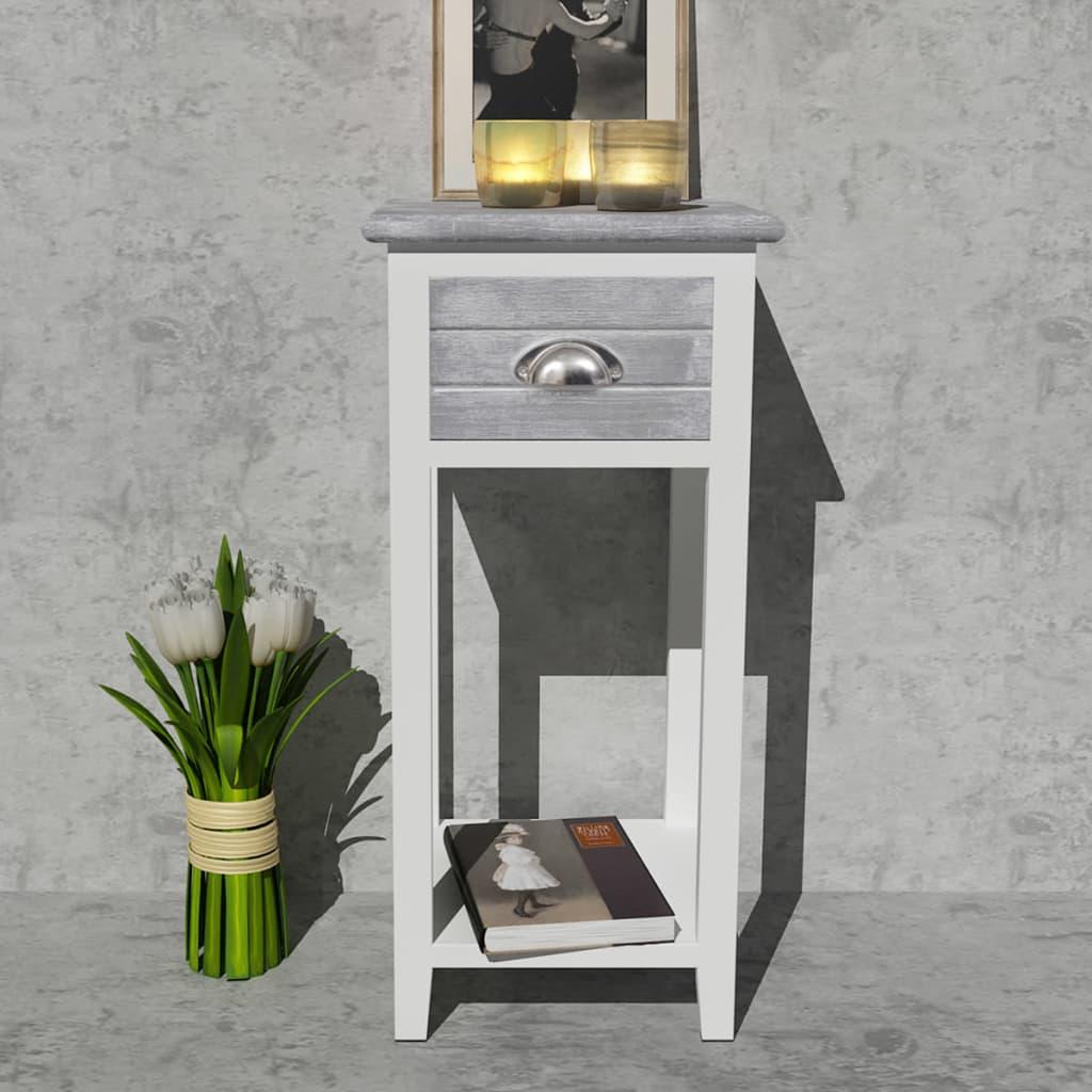 vidaXL-Mesita-de-noche-con-1-cajon-gris-blanco-muebles-de-casa-bricolaje-mesilla