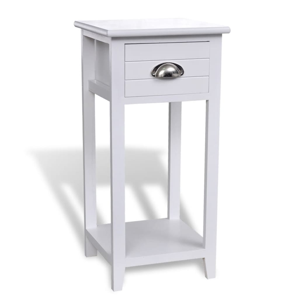 Bedside Cabinet Telephone Stand With 1 Drawer White
