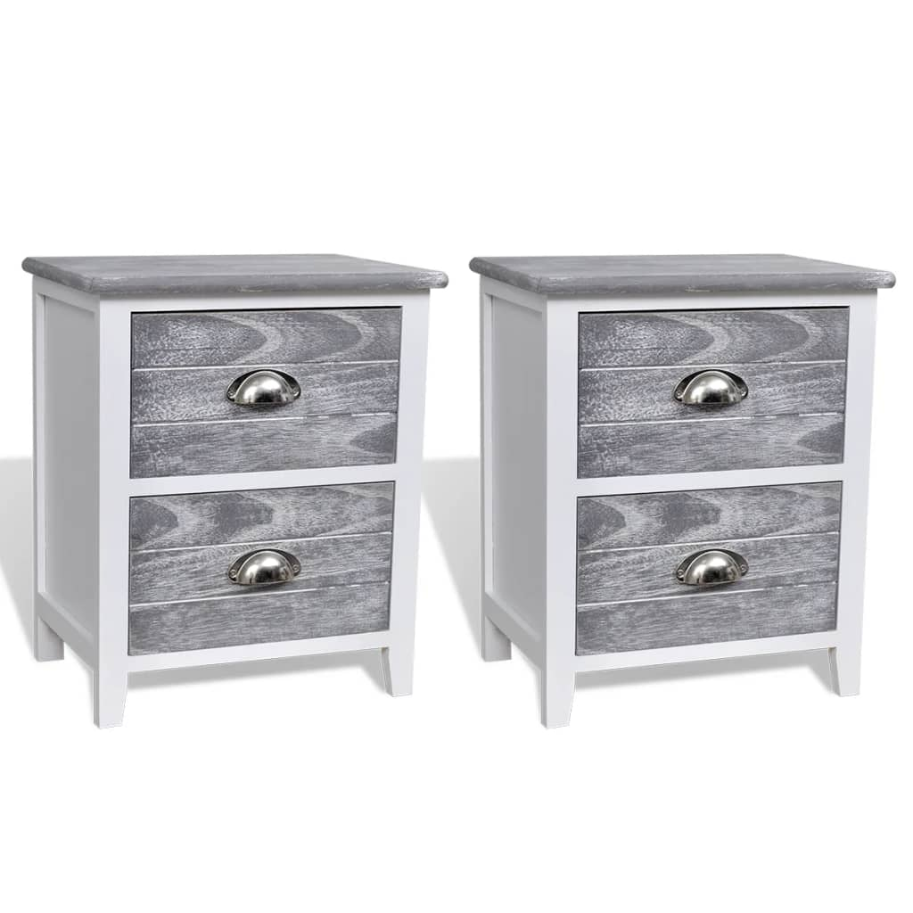 la boutique en ligne 2 tables de chevet meubles pour t l phone 2 tiroirs gris blanc. Black Bedroom Furniture Sets. Home Design Ideas