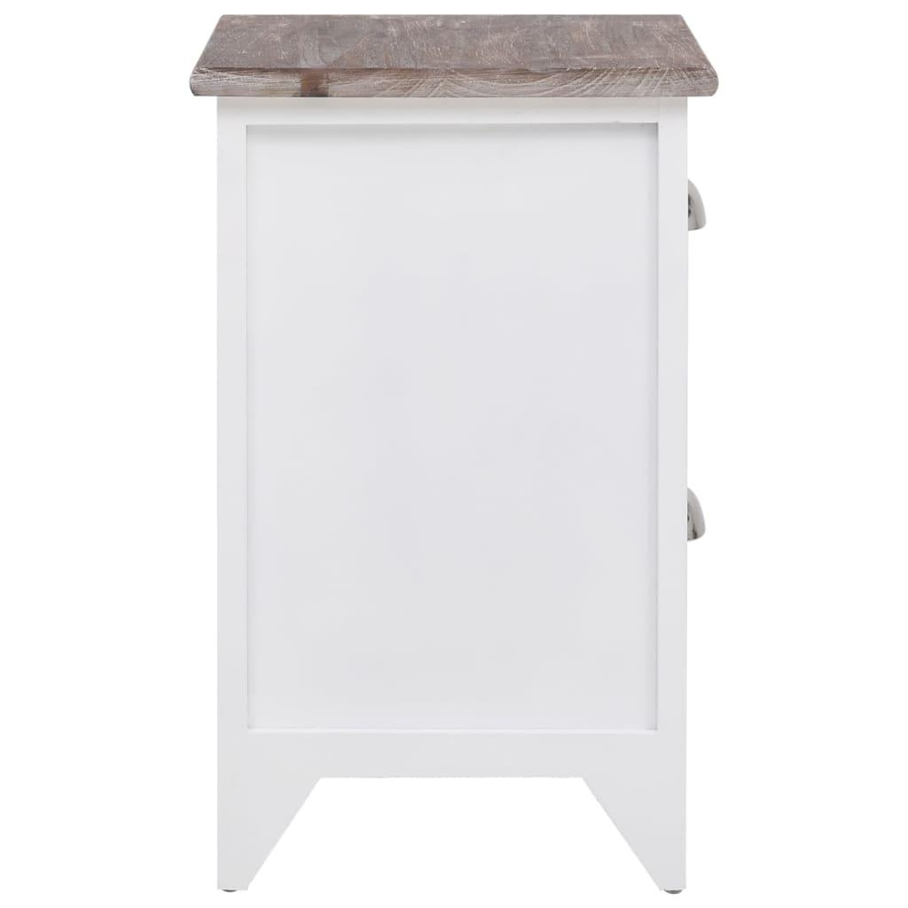 acheter 2 tables de chevet meubles pour t l phone 2 tiroirs marron blanc pas cher. Black Bedroom Furniture Sets. Home Design Ideas