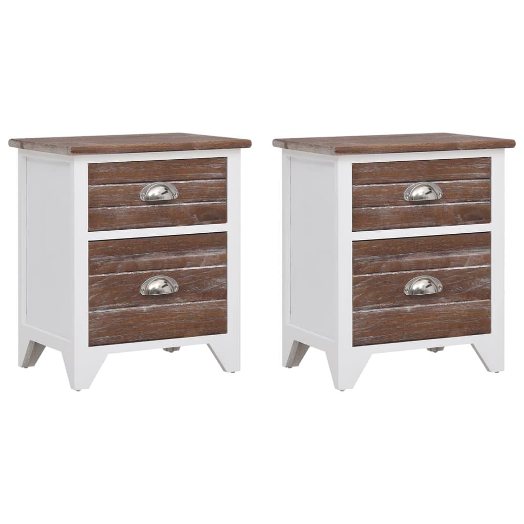 la boutique en ligne 2 tables de chevet meubles pour t l phone 2 tiroirs marron blanc. Black Bedroom Furniture Sets. Home Design Ideas