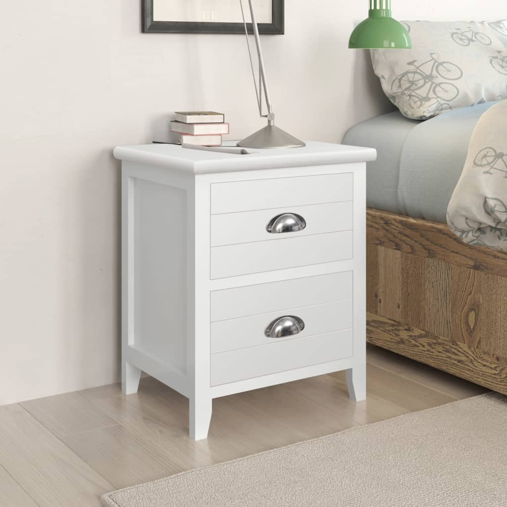 vidaXL Set de 2 mesitas de noche 2 cajones blanco muebles casa ...