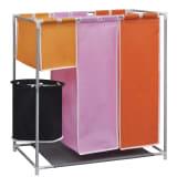 Текстилен троен разделител за сортиране на пране с кофа за миене