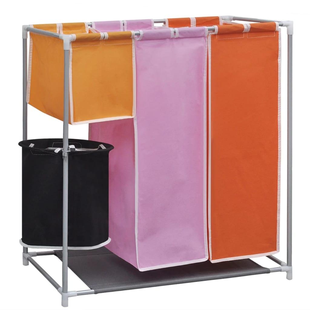 vidaXL 3-Section Laundry Sorter Hamper with a Washing Bin