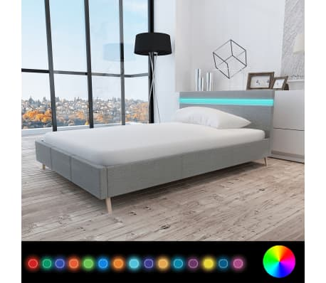 bett mit kopfende mit led licht 200 x 140 cm stoffbezug hellgrau g nstig kaufen. Black Bedroom Furniture Sets. Home Design Ideas