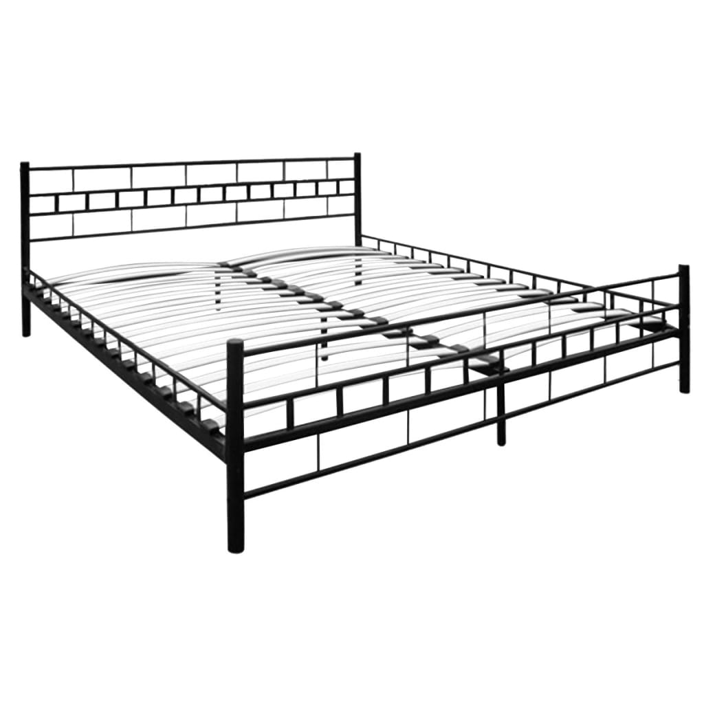 bett metallbett pulverbeschichteter stahl 140 x 200 cm schwarz g nstig kaufen. Black Bedroom Furniture Sets. Home Design Ideas