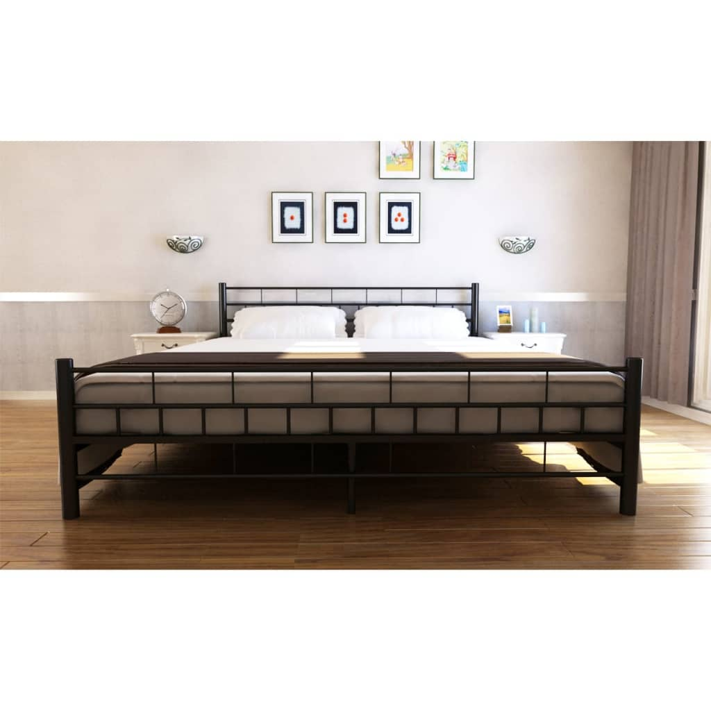 bett metallbett pulverbeschichteter stahl 180 x 200 cm schwarz g nstig kaufen. Black Bedroom Furniture Sets. Home Design Ideas