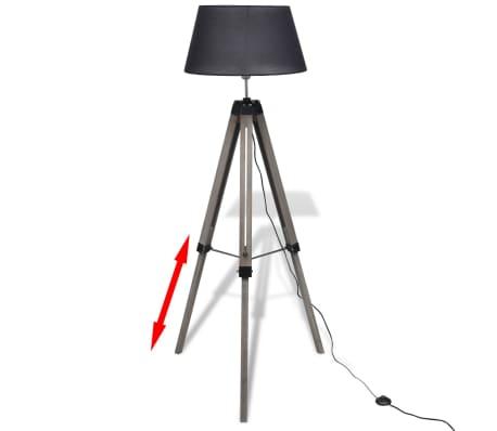 lampadaire tr pied en bois r glable avec abat jour en tissu noir. Black Bedroom Furniture Sets. Home Design Ideas