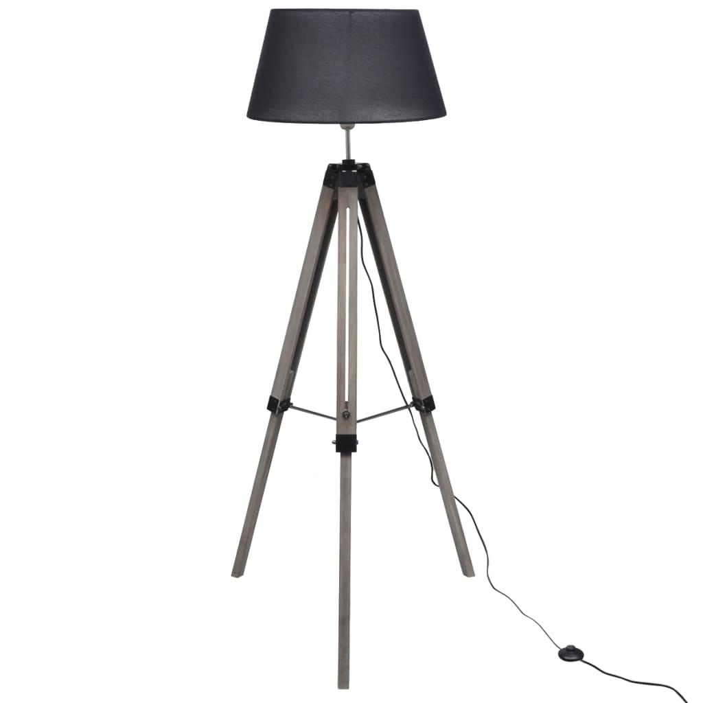 vidaXL Állítható fa háromlábú lámpa szövet árnyékolóval fekete