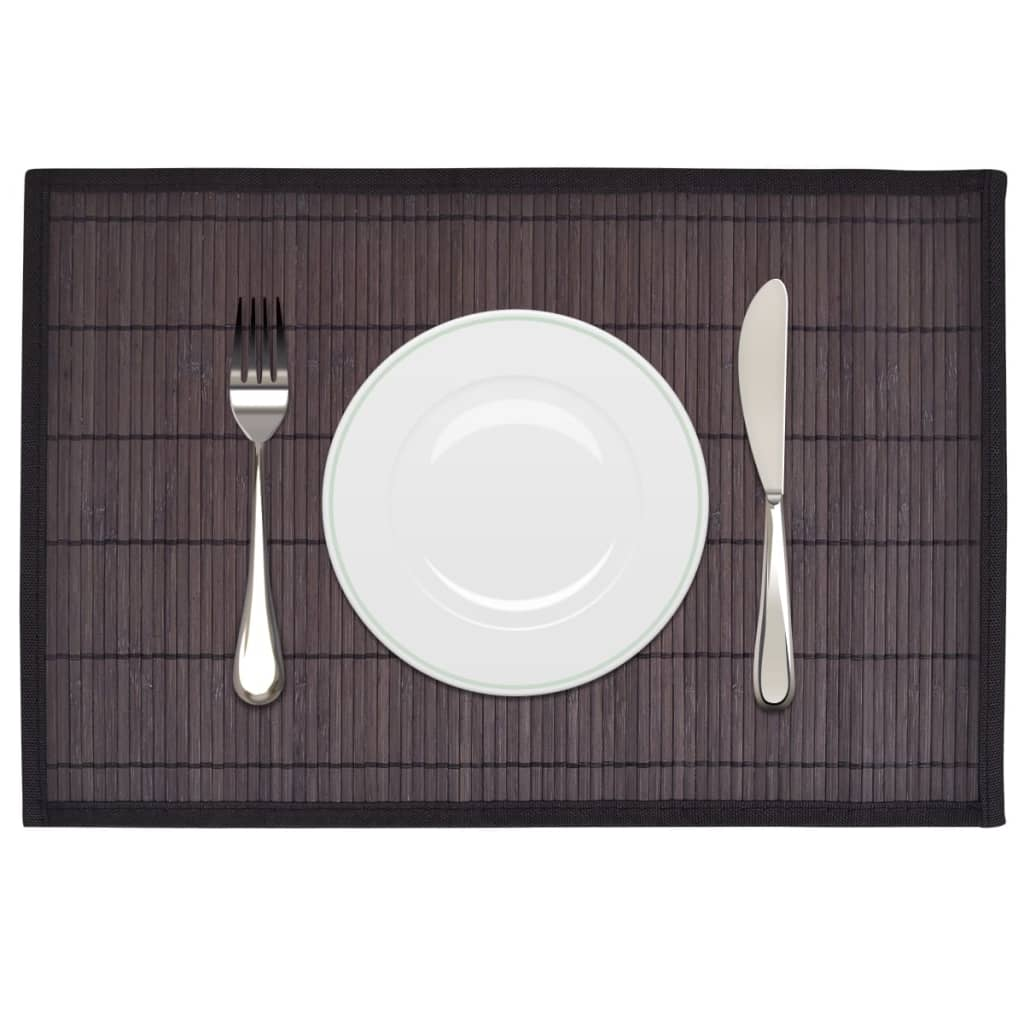 Pack-of-6-Bamboo-Rectangle-Placemats-30-x-45-cm-Dark-Brown-Non-slip