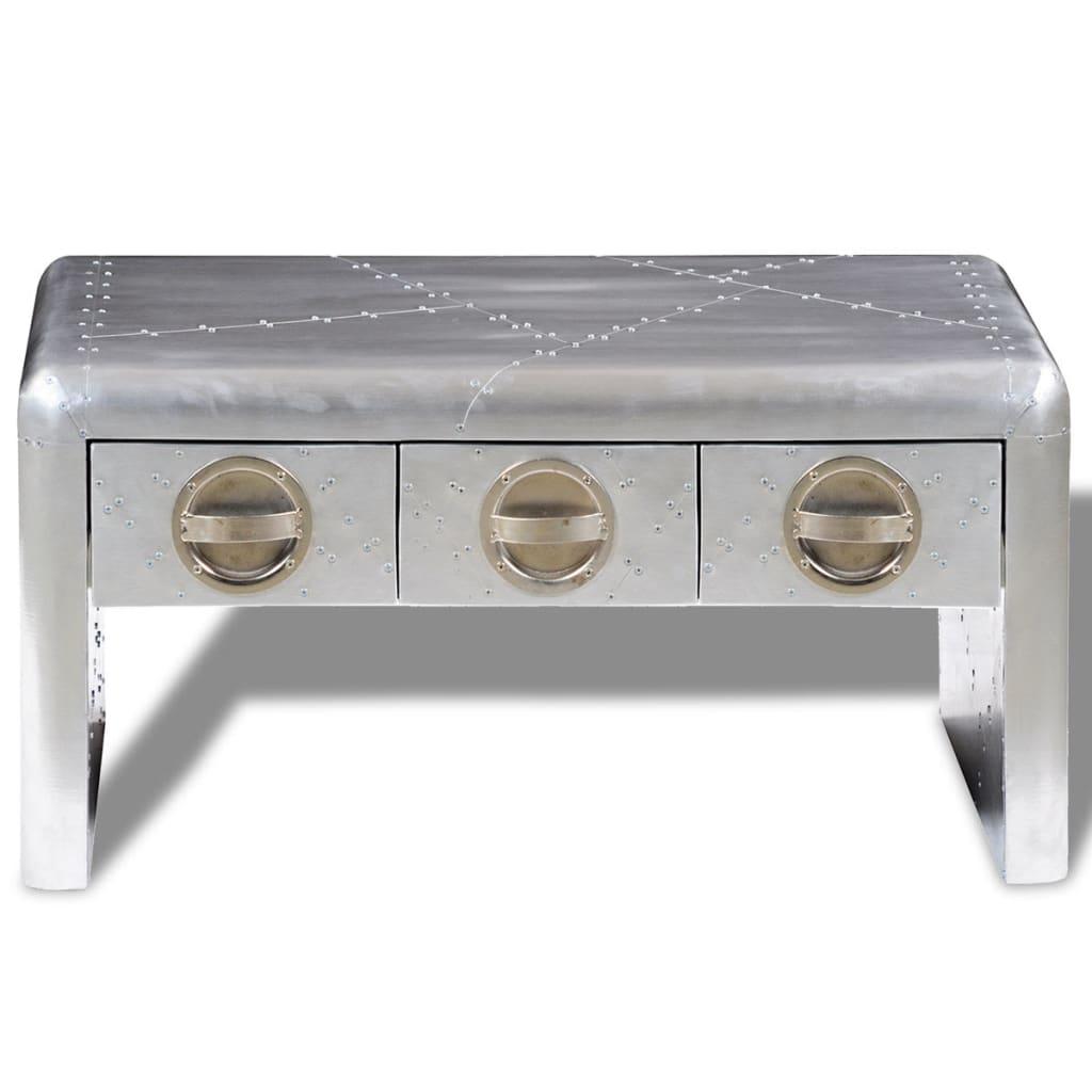 Der Pilot Aluminium Couchtisch 3 Schubladen Vintage