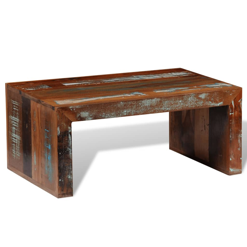 Antique style reclaimed wood coffee table for Reclaimed coffee table