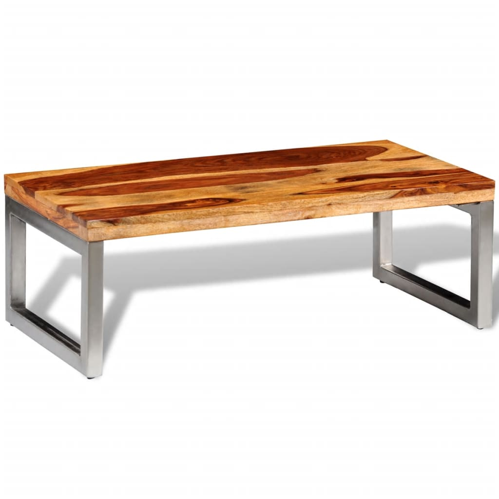 La boutique en ligne table basse en bois sheesham solide for Pied table basse bois
