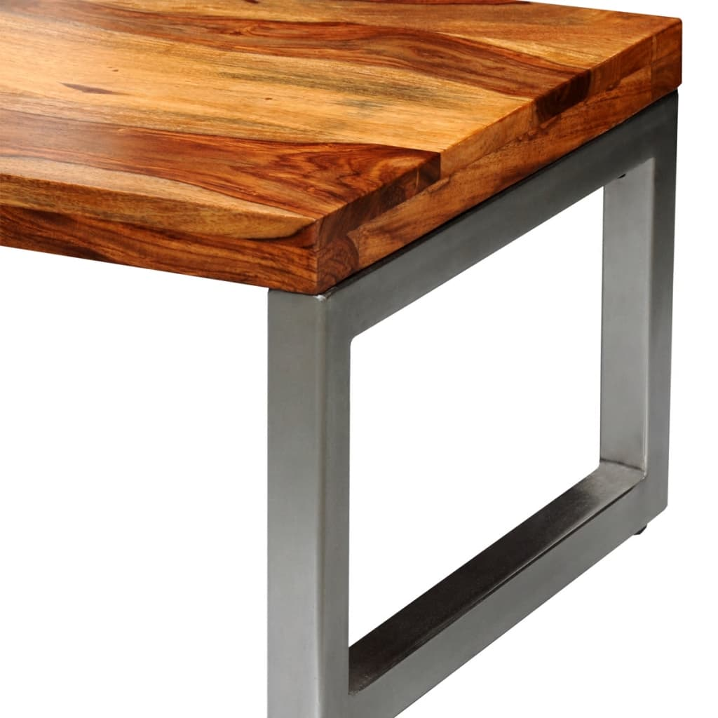 Solid Stainless Steel Coffee Table: Solid Sheesham Wood Coffee Table With Steel Leg