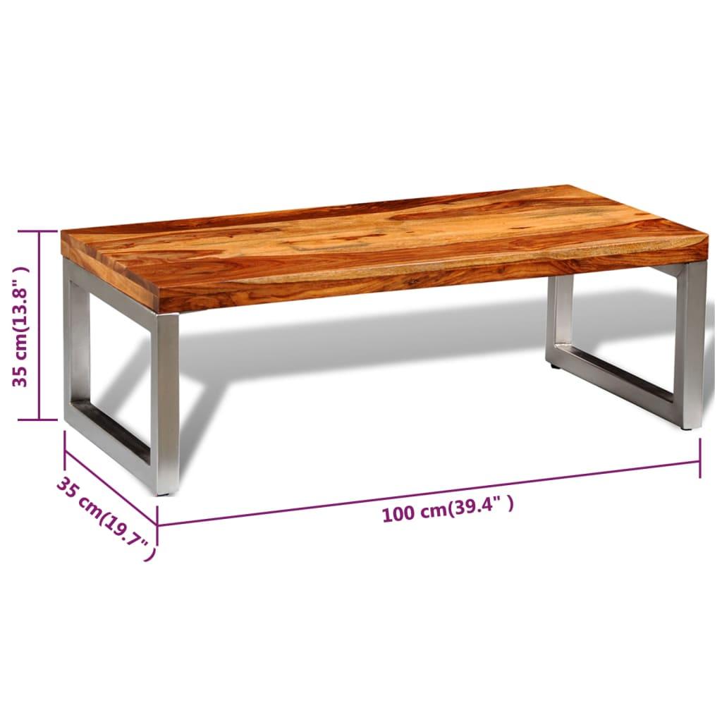 acheter table basse en bois sheesham solide avec pieds en acier pas cher. Black Bedroom Furniture Sets. Home Design Ideas