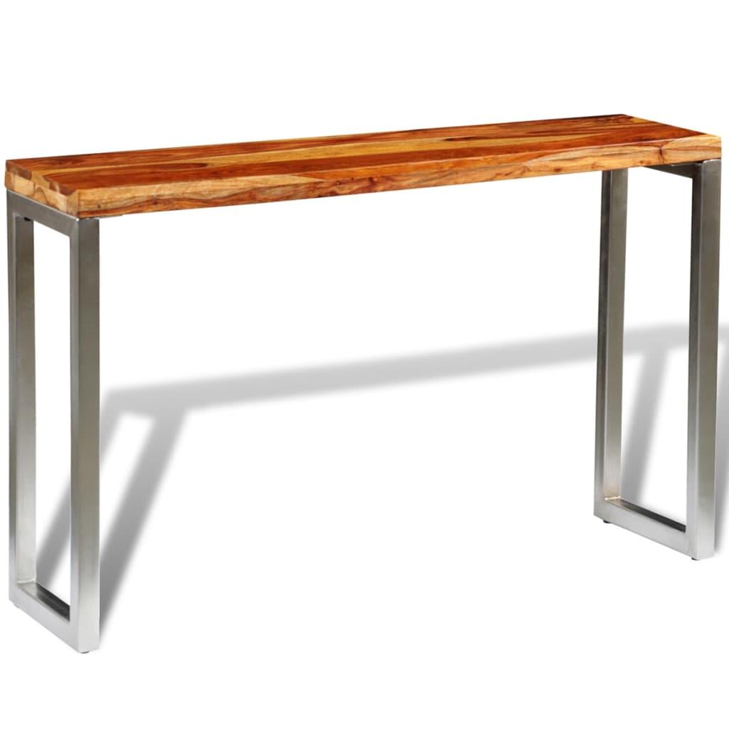 acheter console en bois sheesham solide avec pieds en acier pas cher. Black Bedroom Furniture Sets. Home Design Ideas