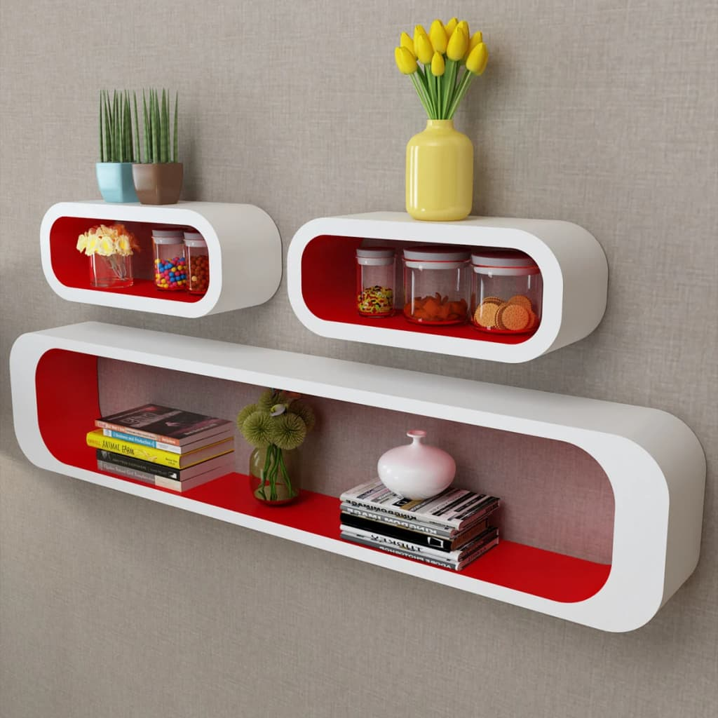 VidaXL 3pc Display Storage Cube Floating Shelves Wall Mount Matte White U0026  Red