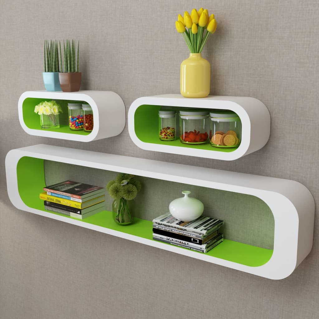 ... White-green MDF Floating Wall Display Shelf Cubes Book/DVD Storage