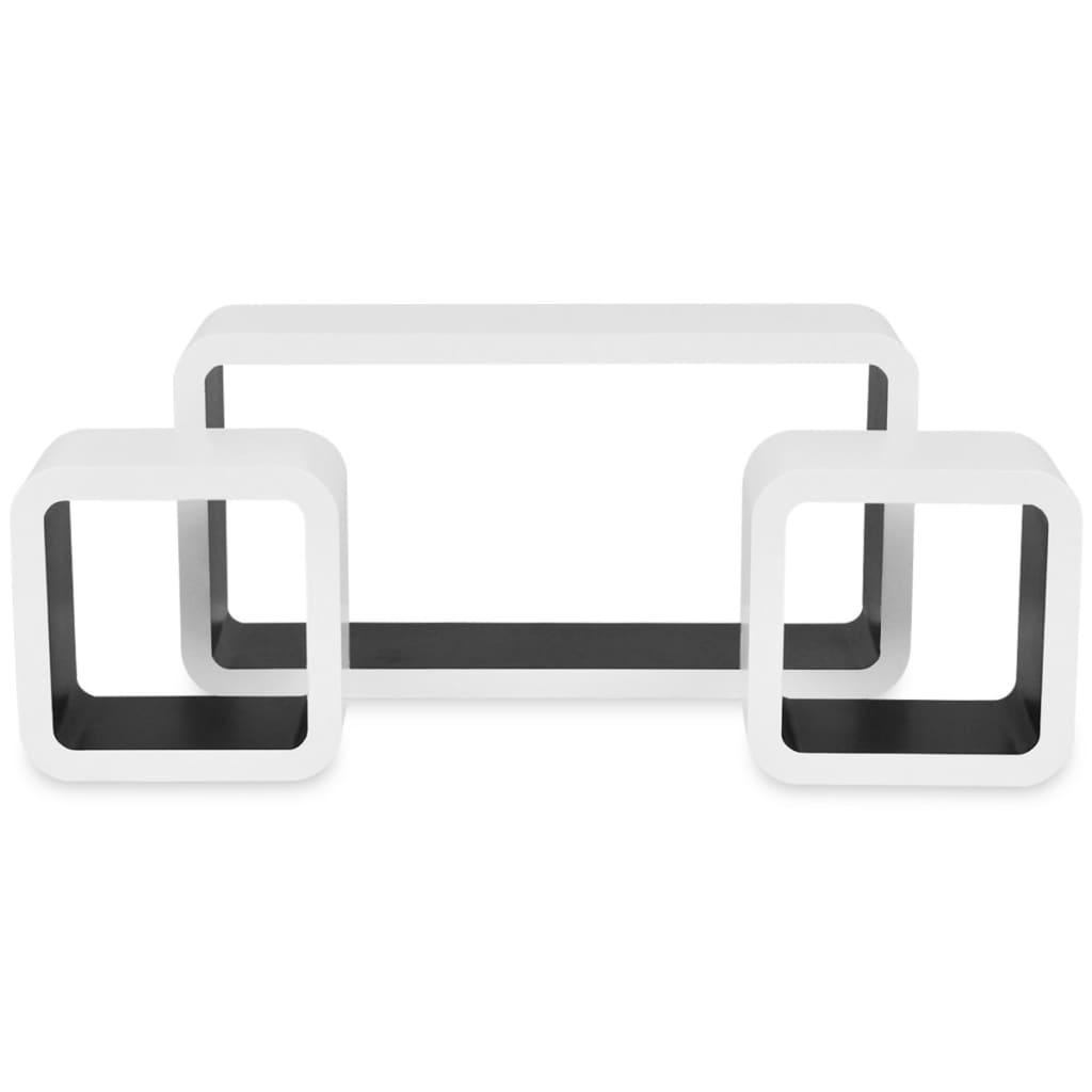 der 3er set mdf h ngeregal cube regal f r b cher dvd wei. Black Bedroom Furniture Sets. Home Design Ideas