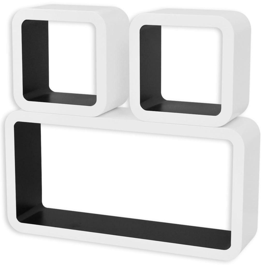 3er set mdf h ngeregal cube regal f r b cher dvd wei. Black Bedroom Furniture Sets. Home Design Ideas