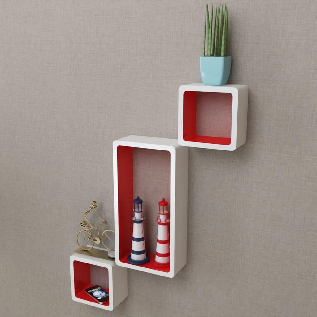der 3er set mdf cube regal h ngeregal wandregal f r b cher dvd wei rot online shop. Black Bedroom Furniture Sets. Home Design Ideas