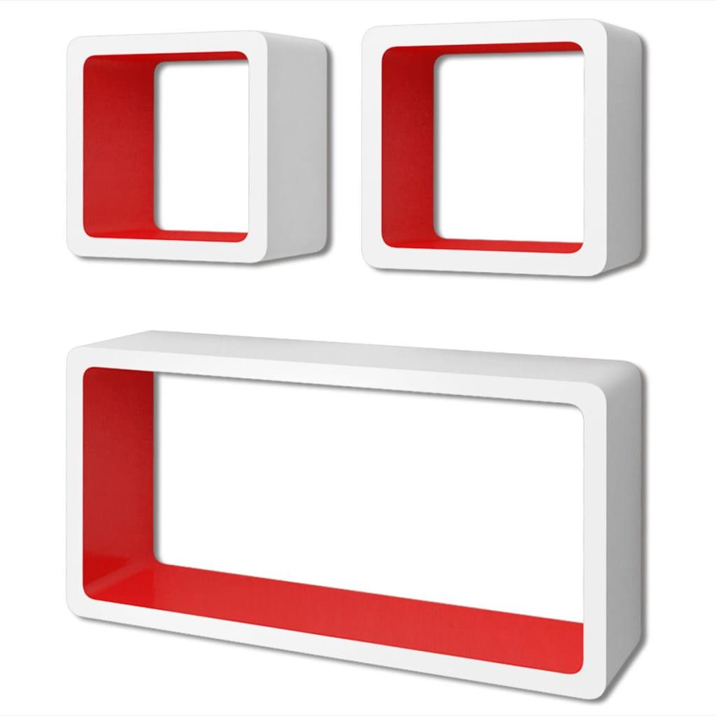 3er set mdf cube regal h ngeregal wandregal f r b cher dvd wei rot g nstig kaufen. Black Bedroom Furniture Sets. Home Design Ideas