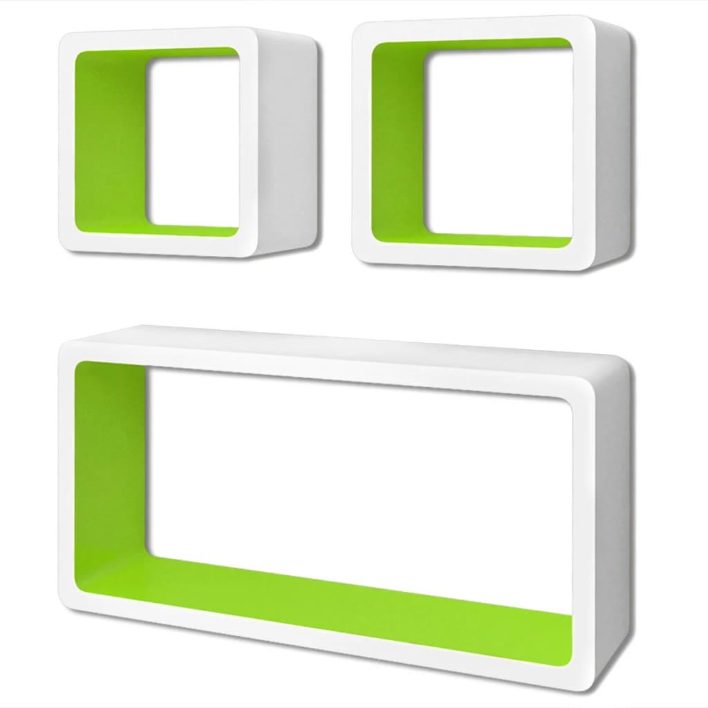 Afbeelding van vidaXL Wandplanken kubus MDF zwevend opbergruimte boeken/dvd 3 st wit-groen