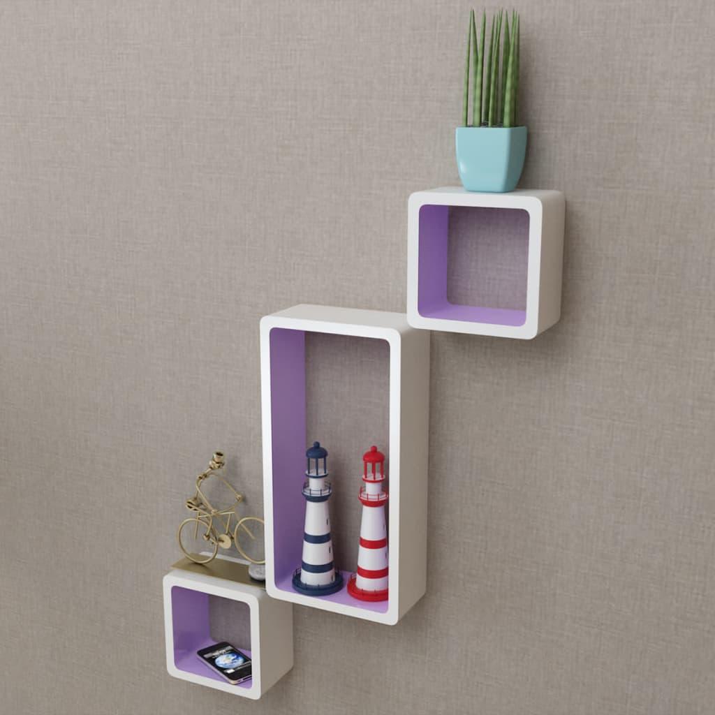 3er set mdf cube regal h ngeregal wandregal f r b cher dvd wei lila g nstig kaufen. Black Bedroom Furniture Sets. Home Design Ideas