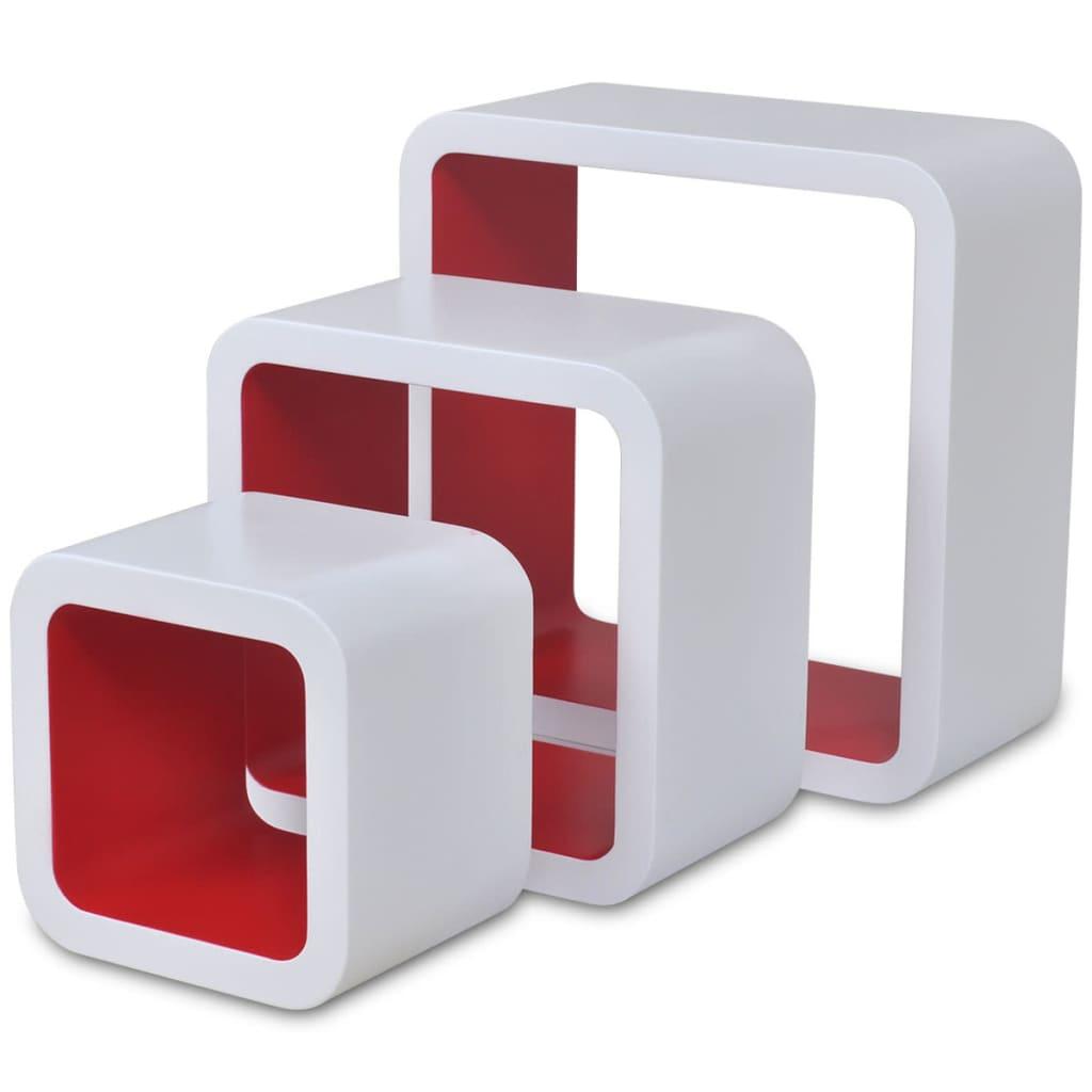 der 3er set mdf h ngeregal wandregal cube regal f r b cher dvd wei rot online shop. Black Bedroom Furniture Sets. Home Design Ideas