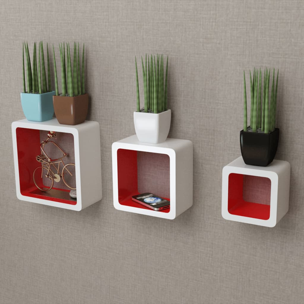 acheter 3 etag res cubes murales et en mdf blanc rouge. Black Bedroom Furniture Sets. Home Design Ideas