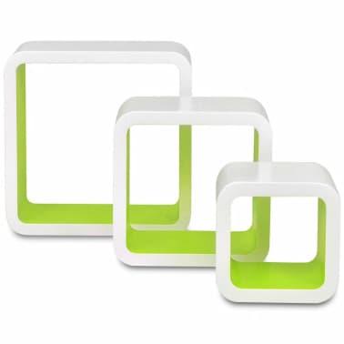 3er set mdf wandregal h ngeregal cube regal f r b cher dvd wei gr n g nstig kaufen. Black Bedroom Furniture Sets. Home Design Ideas